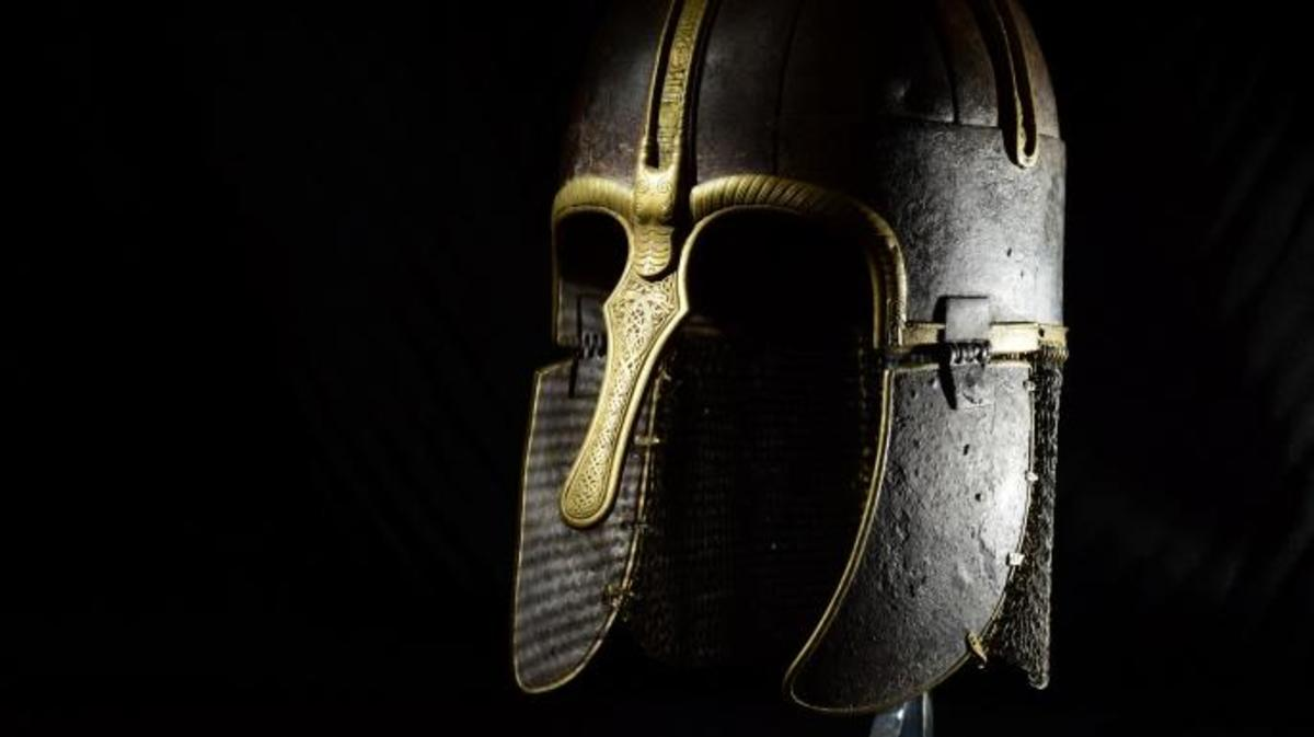 A Viking helmet on display at the Yorkshire Museum. (Credit: Anthony Chappel Ross)