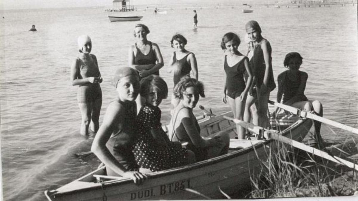 Jane Haining and her students vacationing on Lake Balaton. (