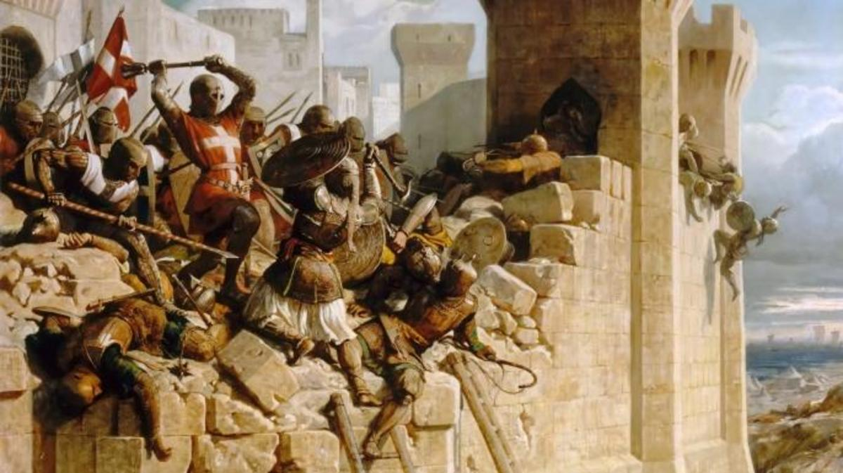 Painting depicting Guillaume de Clermont defending the walls at the Siege of Acre, 1291.