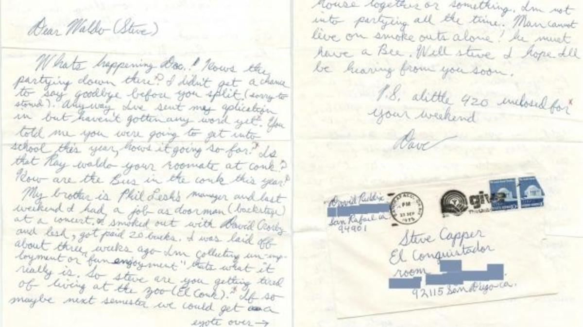 The original letter Reddix sent Capper in college. (Credit: Carly Schwartz)