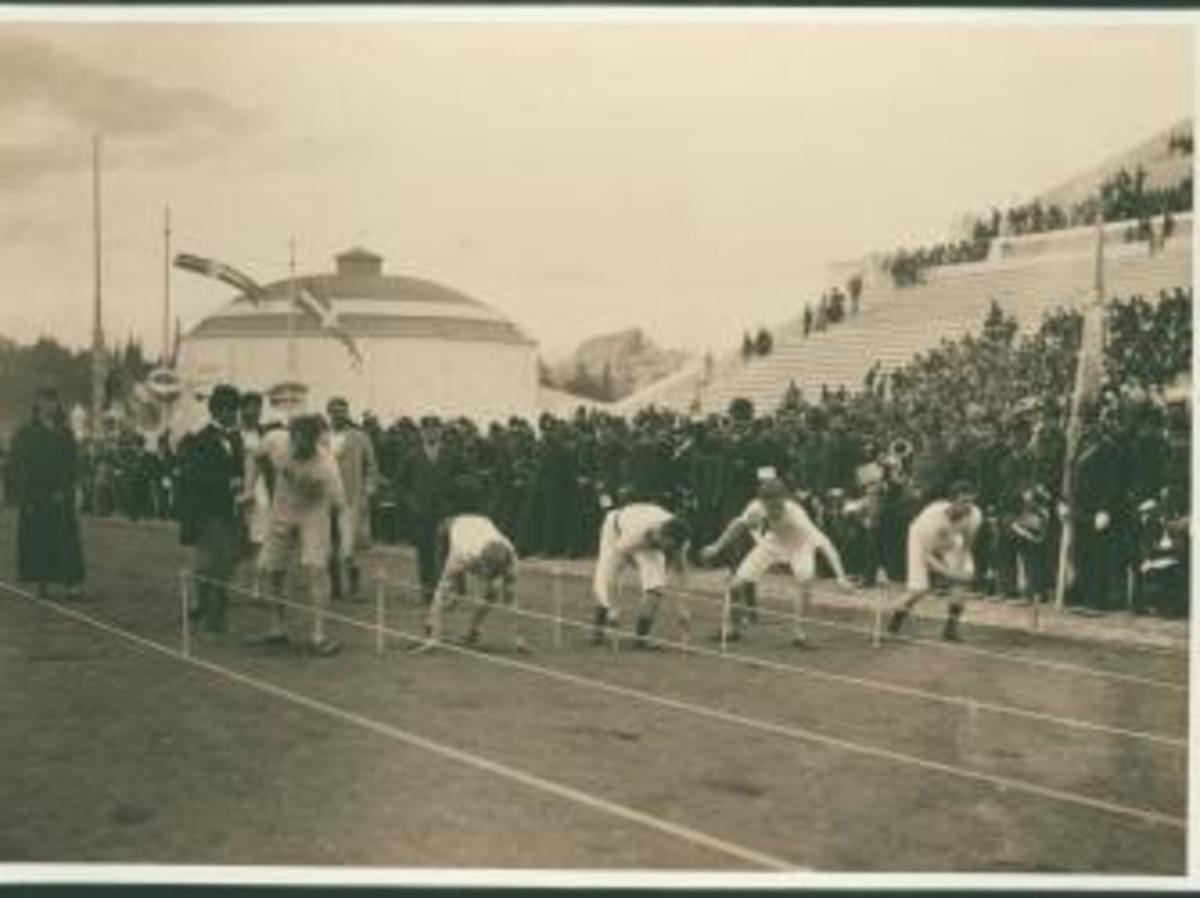 Olympic Games, 1896, the 100-meter race. (Credit: Fine Art Images/Getty Images)