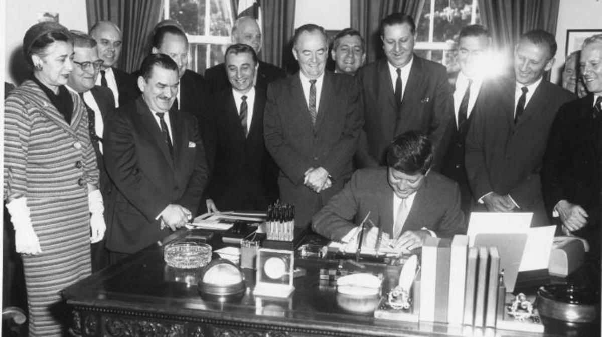 President Kennedy signs the Peace Corps Bill, 1961