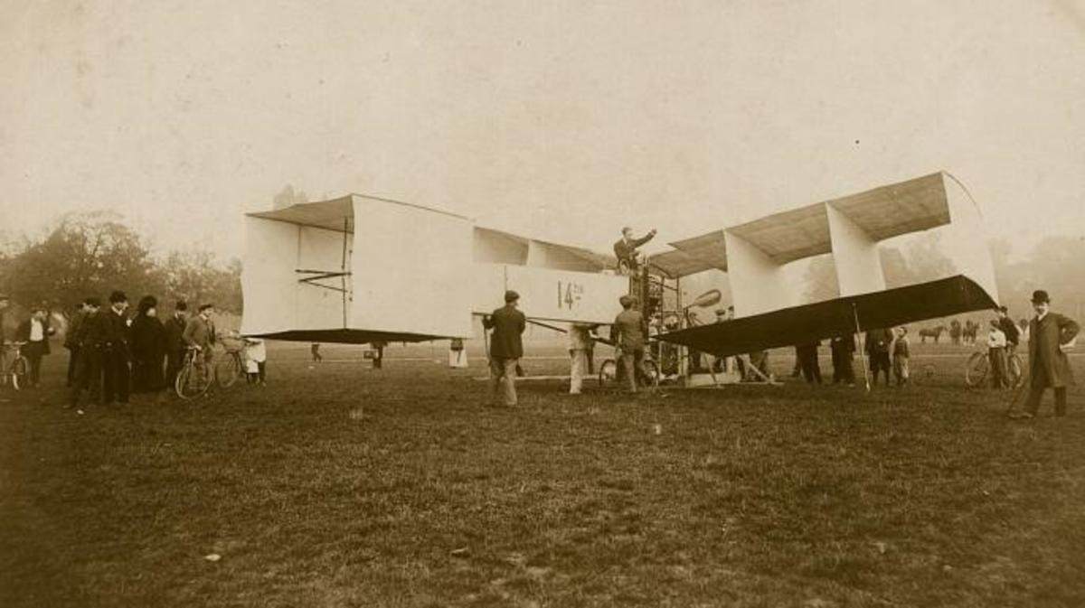 Alberto Santos-Dumont the Brazilian aeronaut aboard his record winning 14 bis tail-first biplane. (Credit: Hulton Archive/Getty Images)