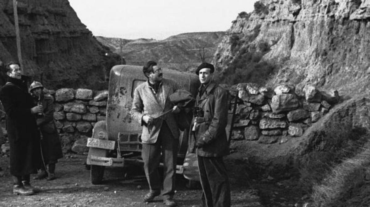 Ernest Hemingway (center) at Belchite, the site of one of the bloodiest battles of the Spanish Civil War.