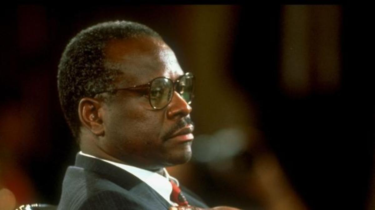 Supreme Court Justice nominee Clarence Thomas during Sen. Judiciary Comm. hearings re charge of sexual harassment by former employee Anita Hill.