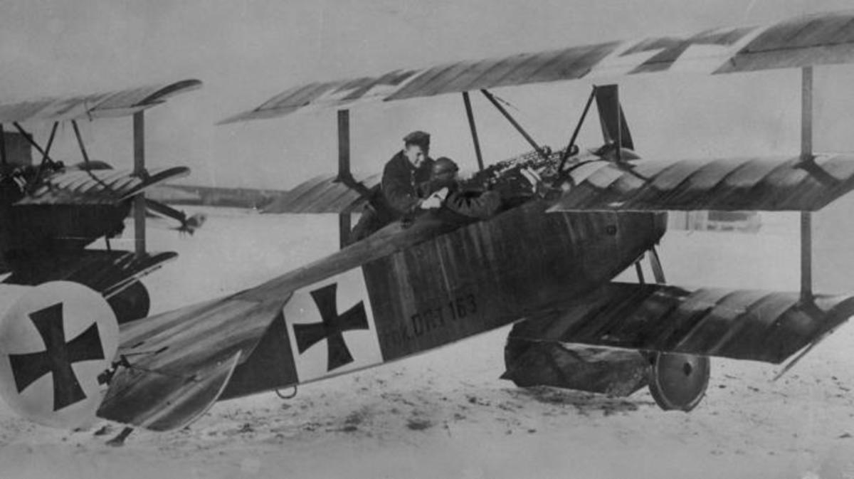 Baron von Richthofen with one of his triplanes.