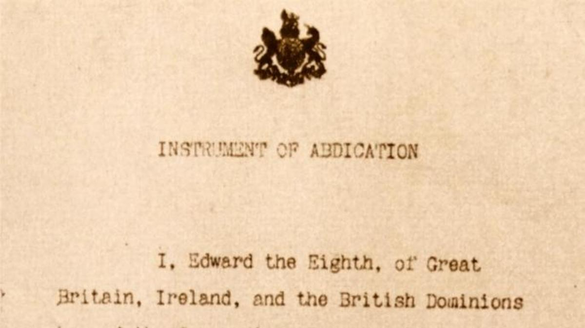 Copy of the document that confirms the abdication of King Edward VIII. (Credit: Universal History Archive/Getty Images)