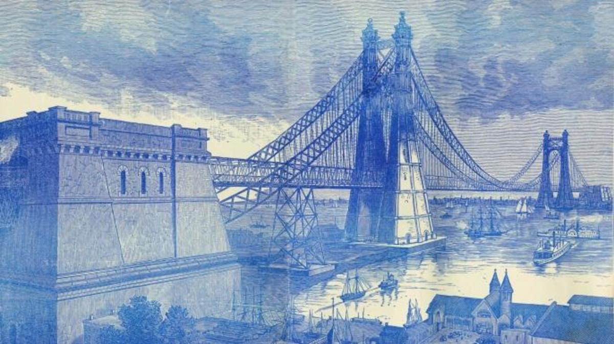 Gustav Lindenthal's design for the North River Bridge. (Courtesy Metropolis Books)