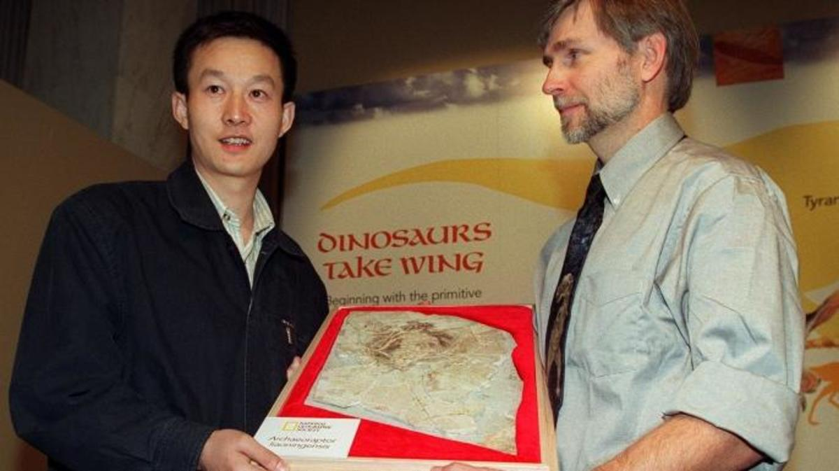 Chinese paleontologist Xu Xing (L) from the Institute of Vertebrate Paleontology and Paleoanthropology of Beijing holds a fossil of a Archaeoraptor with Stephen Czerkas (R), director of the Dinosaur Museum in Blanding. (Credit: TIM SLOAN/Getty Images)