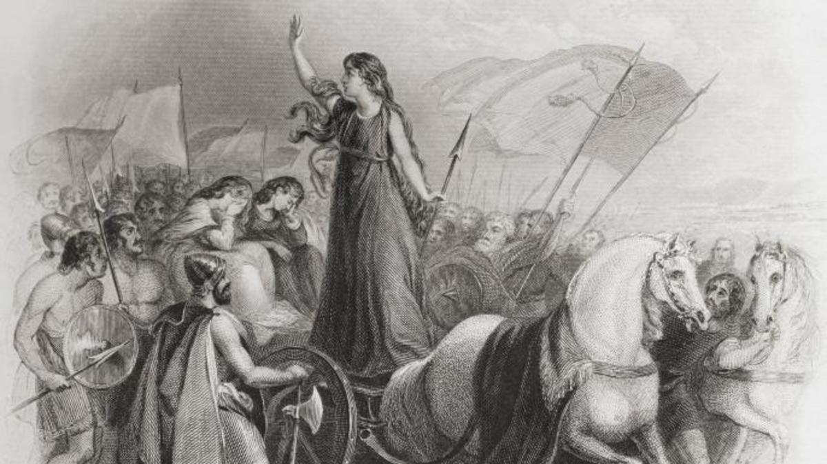 Drawing depicting Boudica on a chariot, barbarians