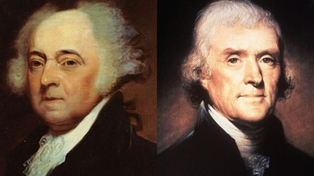 John Adams and Thomas Jefferson, who squared off in the election of 1796.