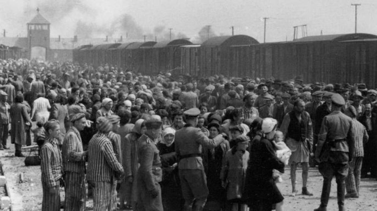 """Selection"" of Hungarian Jews on the ramp at the death camp Auschwitz-II (Birkenau). (Credit: Public Domain)"