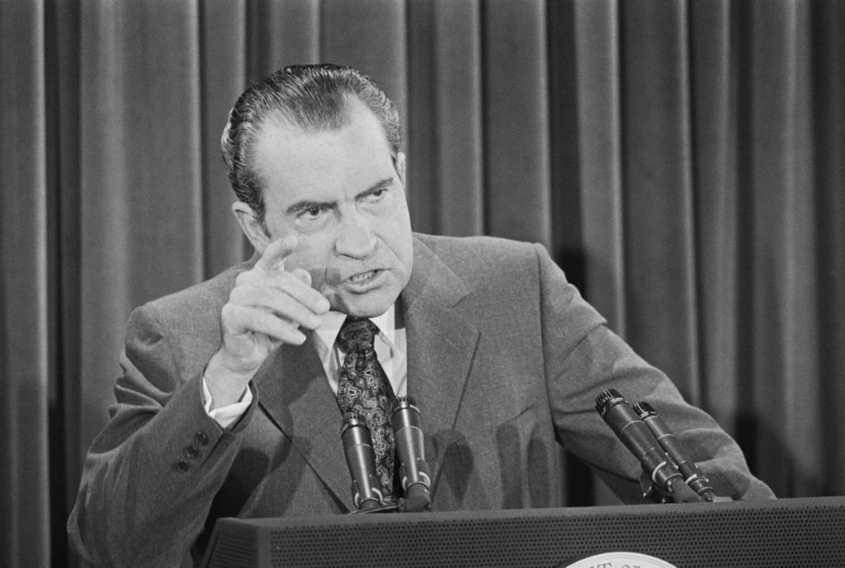 President Nixon at a news conference at the White House said the government had heard the demonstrators demanding an end to the war, but said it would not be intimidated by them—and would prosecute those who break the law. He also said he felt TV accounts of demonstrations on Capitol Hill gave the incorrect impression that 'Washington is in a state of siege.' (Credit: Getty Images)