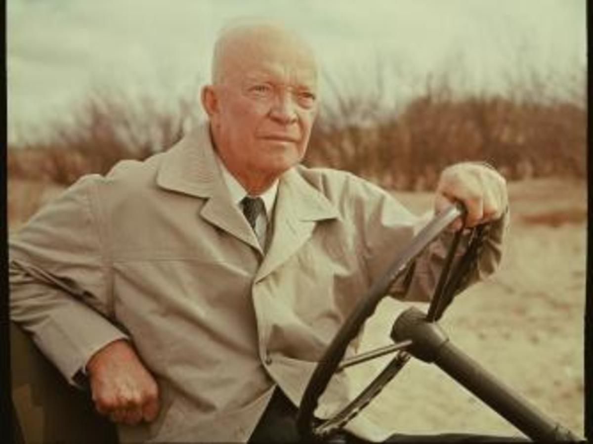 Dwight D. Eisenhower revisits Omaha Beach and other actual sites and locales connected with the World War II. (Credit: CBS Photo Archive/Getty Images)
