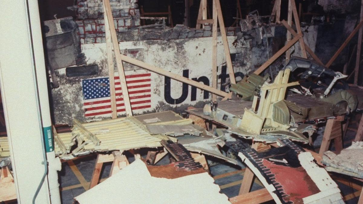 Wreckage from the Challenger being studied in the Logistics Facility at Kennedy Space Center. (Credit: Time Life Pictures/NASA/The LIFE Picture Collection/Getty Images)
