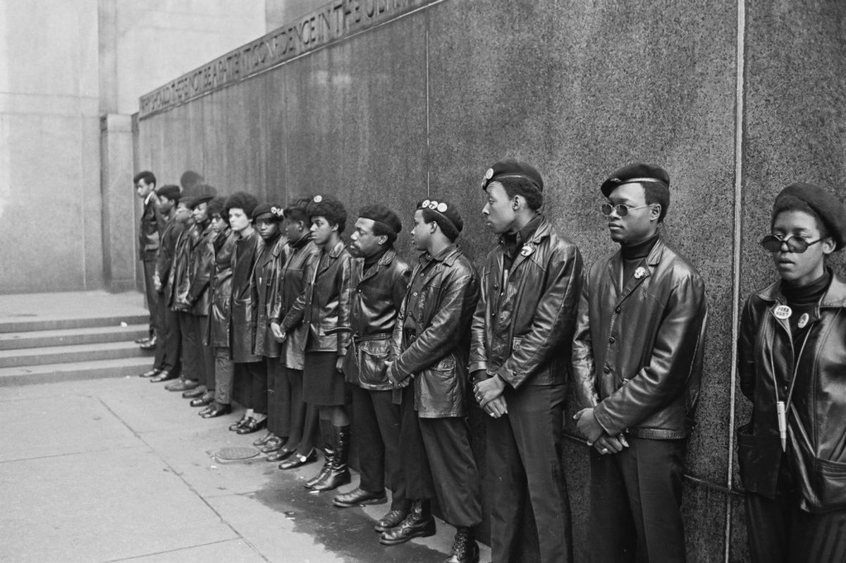 Black Panther Party members demonstrating outside the New York courthouse, New York City, April 11, 1969. (Photo by David Fenton/Getty Images)