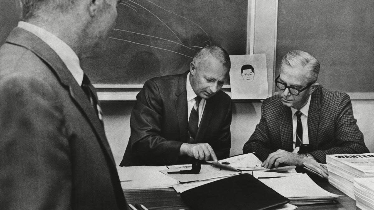 Law-enforcement officers from two Bay Area counties and San Francisco, meeting on October 20, 1969 to compare notes toward catching the Zodiac Killer before he struck again.