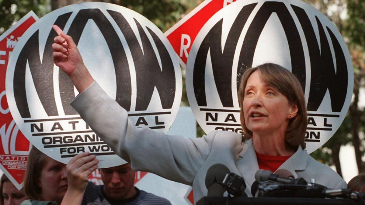 National Organization for Women President Patricia Ireland addressing a demonstration on the Mall in Washington. D.C. in 1997. (Credit: Karin Cooper/AP/REX/Shutterstock)
