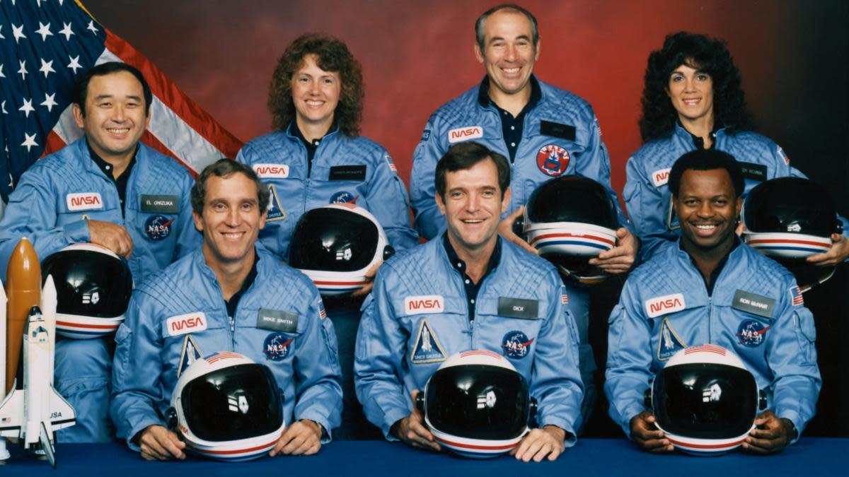 The five astronauts and two payload specialists that made up the STS 51-L crew aboard the Space Shuttle Challenger in January of 1986. Crew members are (left to right, front row) astronauts Michael J. Smith, Francis R. (Dick) Scobee and Ronald E. McNair; and Ellison S. Onizuka, Sharon Christa McAuliffe, Gregory Jarvis and Judith A. Resnik.