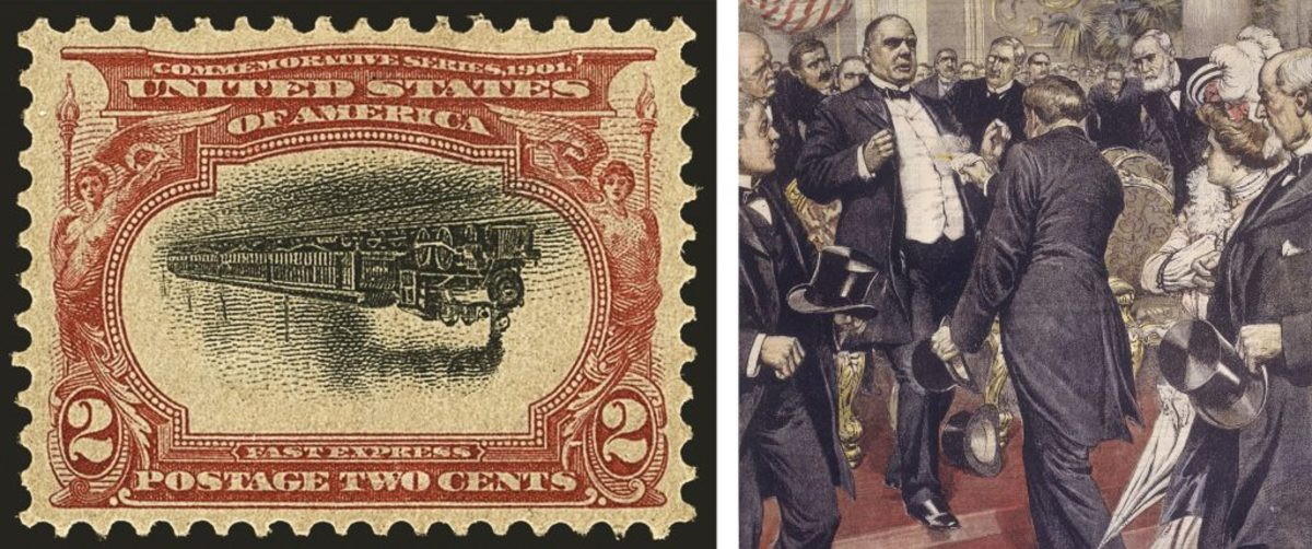 Pan American invert stamp (courtesy of Siegel Auction Gallery); The assassination of President McKinley. (Credit: DEA/A. Dagli Orti/De Agostini/Getty Images)