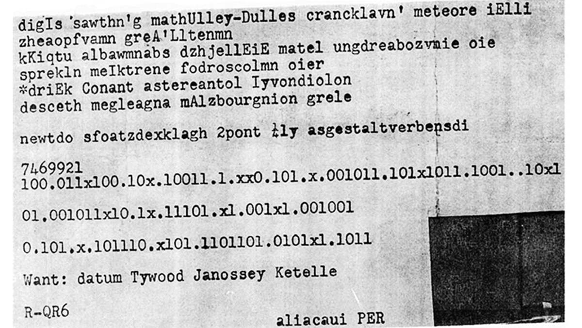 This typewritten cipher was taped to the abdomen of a man found dead in a ditch outside Philadelphia. (Credit: The Federal Bureau of Investigation)