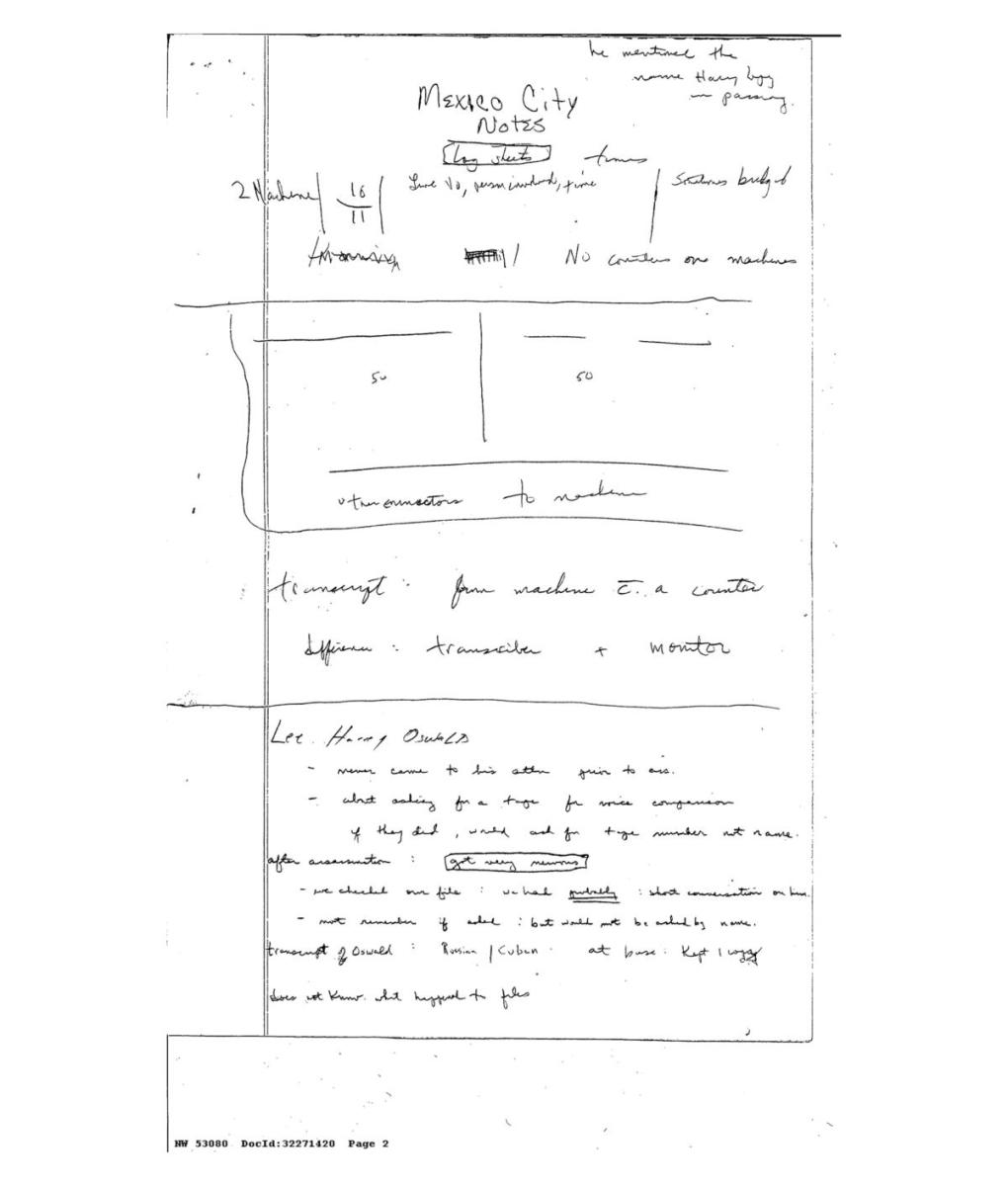 A handout image of a Central Intelligence Agency Mexico City station report about Lee Harvey Oswald released by the National Archives in October, 2017 as part of nearly 3,000 previously sealed or redacted documents related to the 1963 assassination of US President John F. Kennedy. Some documents were withheld at the last minute and some reports indicate that several hundred documents in the release were expected to cover the investigation into Lee Harvey Oswald's visit to Mexico City shortly before the assassination. (Credit: National Archives Handout/EPA-EFE/REX/Shutterstock)