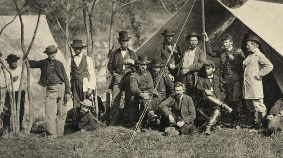Allan Pinkerton and his agents at Antietam, Maryland, in October 1862. (Credit: PhotoQuest/Getty Images)