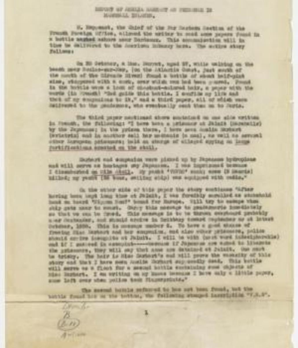 Page 1 of report, dated January 7, 1939, from the records of the Office of the Chief of Naval Operations. This document provides information that Earhart was a prisoner in the Marshall Islands. (Credit: National Archives)
