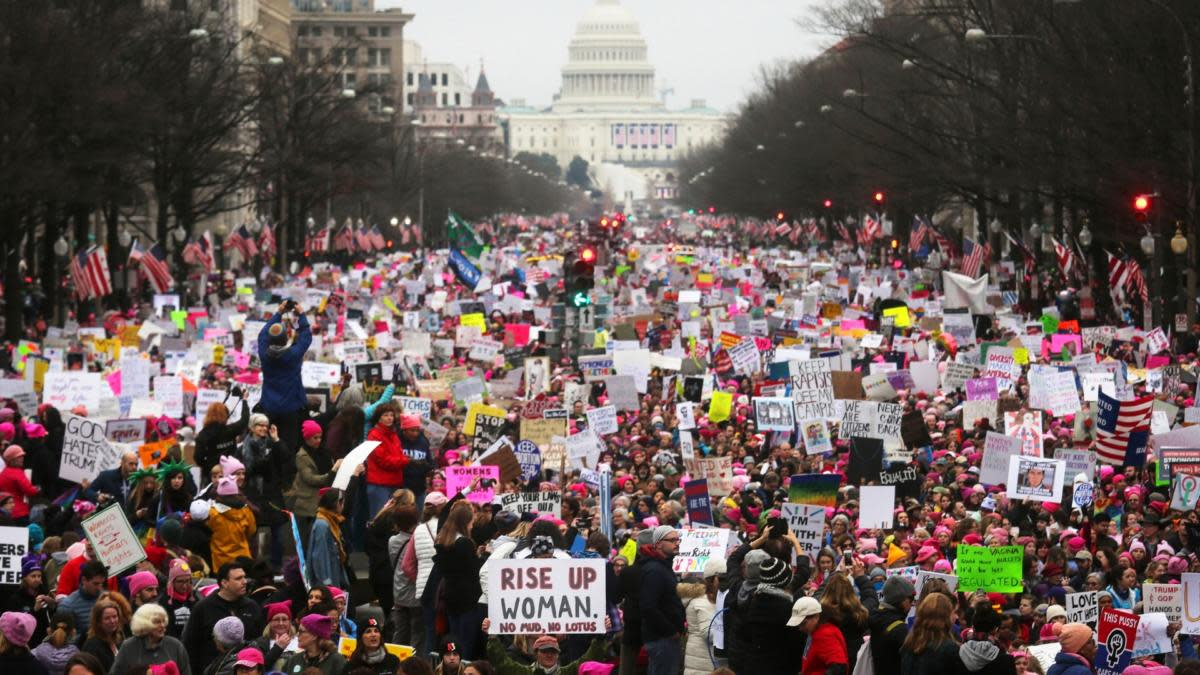 Large crowds at the Women's March on Washington on January 21, 2017 in Washington, D.C.  (Credit: Mario Tama/Getty Images)