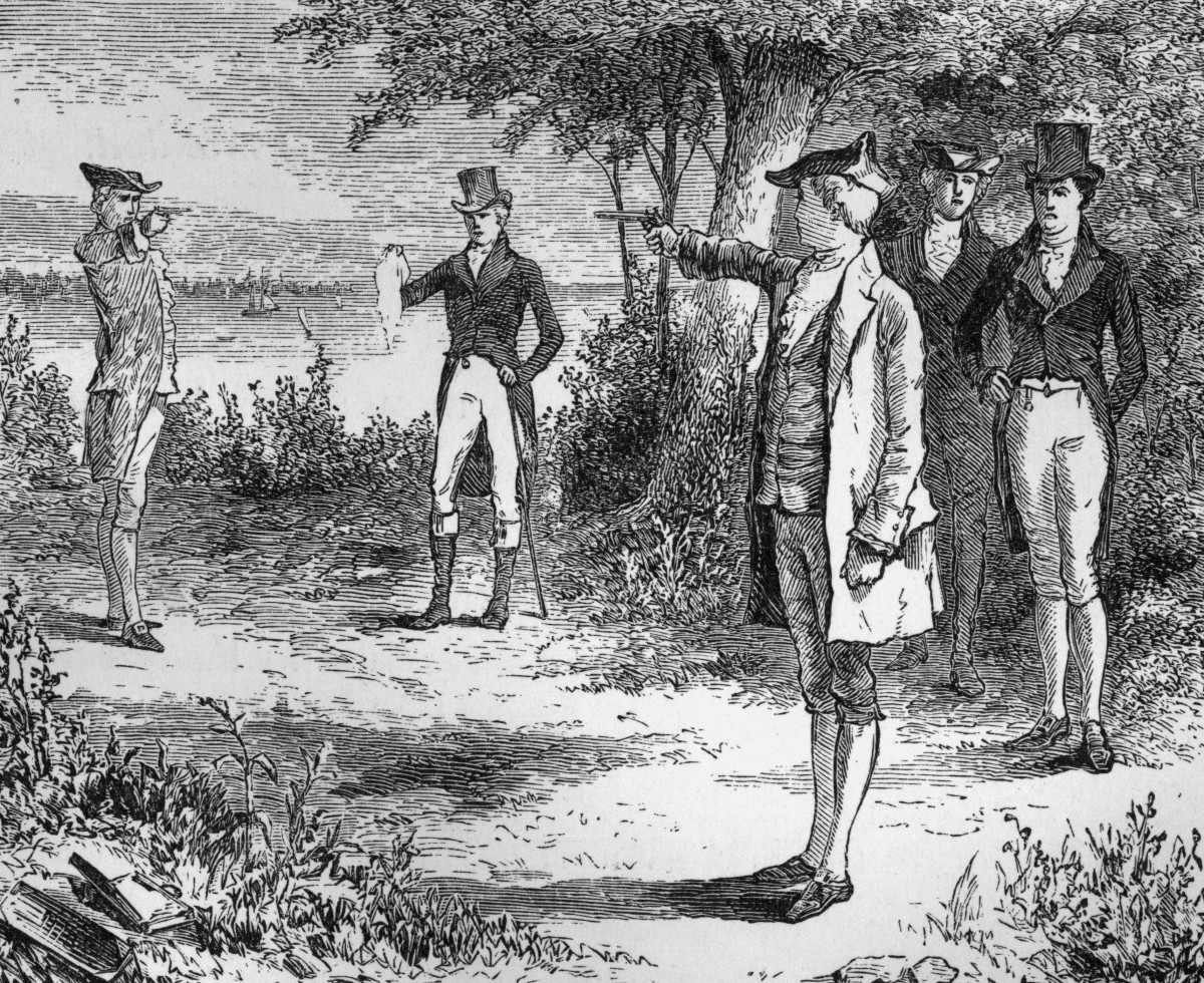 American politicians Alexander Hamilton (1757-1804) and Aaron Burr (1756-1836) take aim in the duel that would end Hamilton's life, Weehawken, New Jersey. (Credit: Hulton Archive/Getty Images)