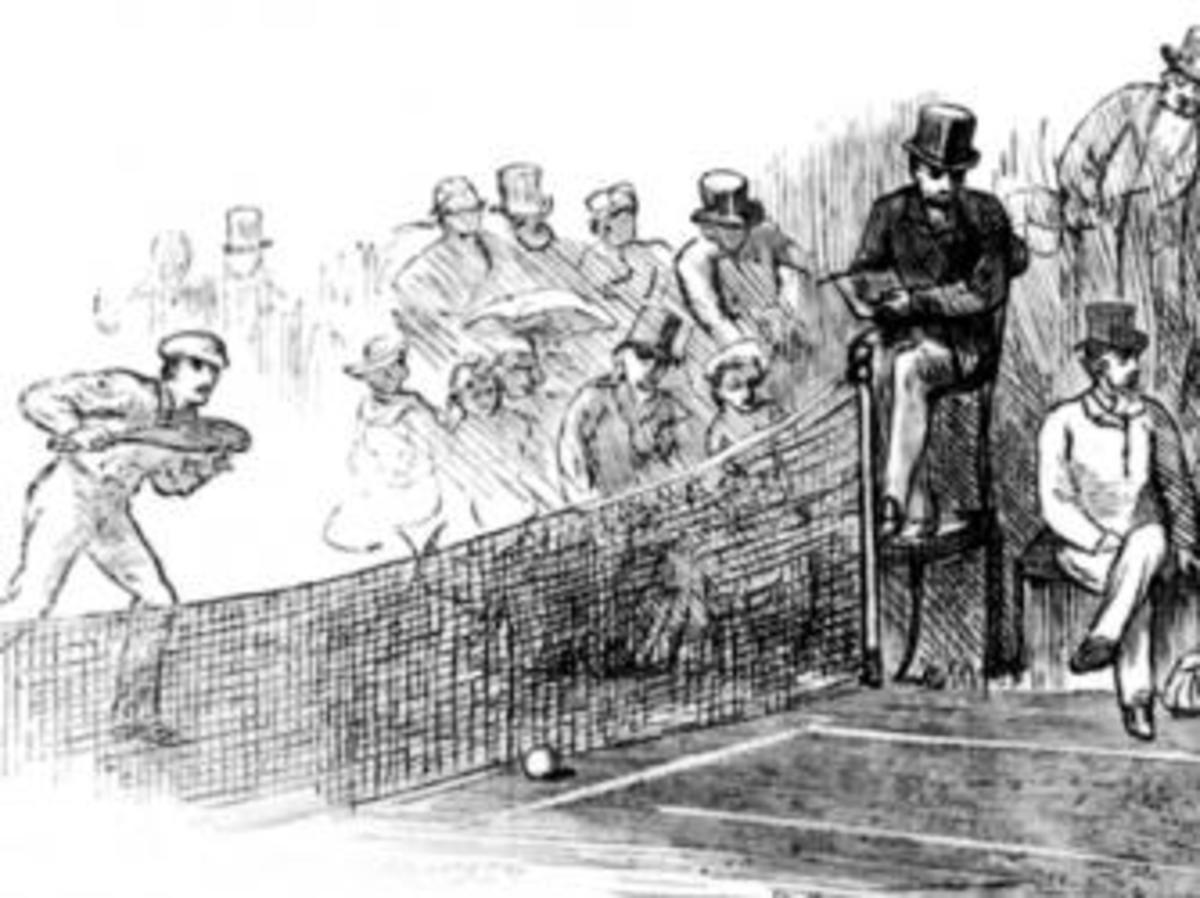 The final round of a tennis match at Wimbledon, 1879. An engraving by Swain. (Credit: Hulton Archive/Getty Images)