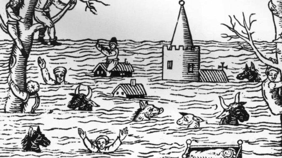 Devastation in 'Summerset-shire' and 'Norfolke' during the Bristol Channel flood of 1607. Around 2000 people are thought to have died in the inundation, which may have been the result of a tsunami. (Credit: Hulton Archive/Getty Images)