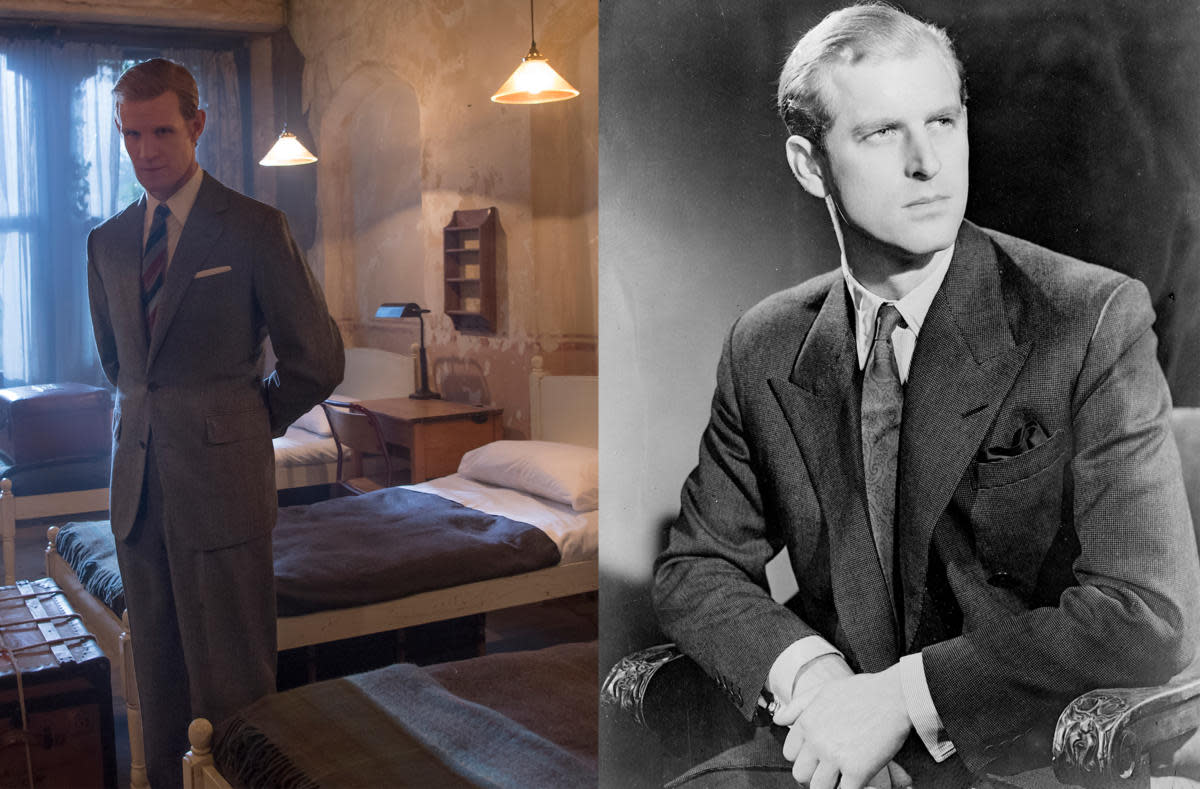 Prince Philip. On the left, Prince Philip is shown in his dormitory at Gordonston (depicted by Matt Smith in The Crown). (Credit: Alex Bailey/Netflix & Keystone/Getty Images)