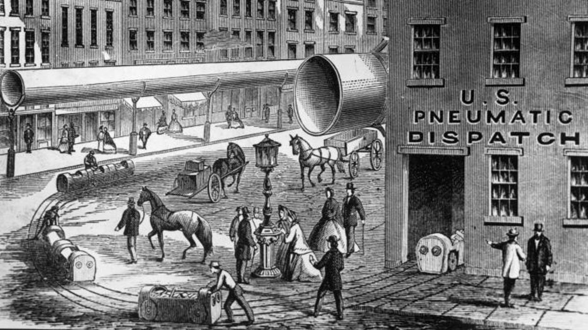 A drawing of the pneumatic tube system Beach envisioned for NYC. (