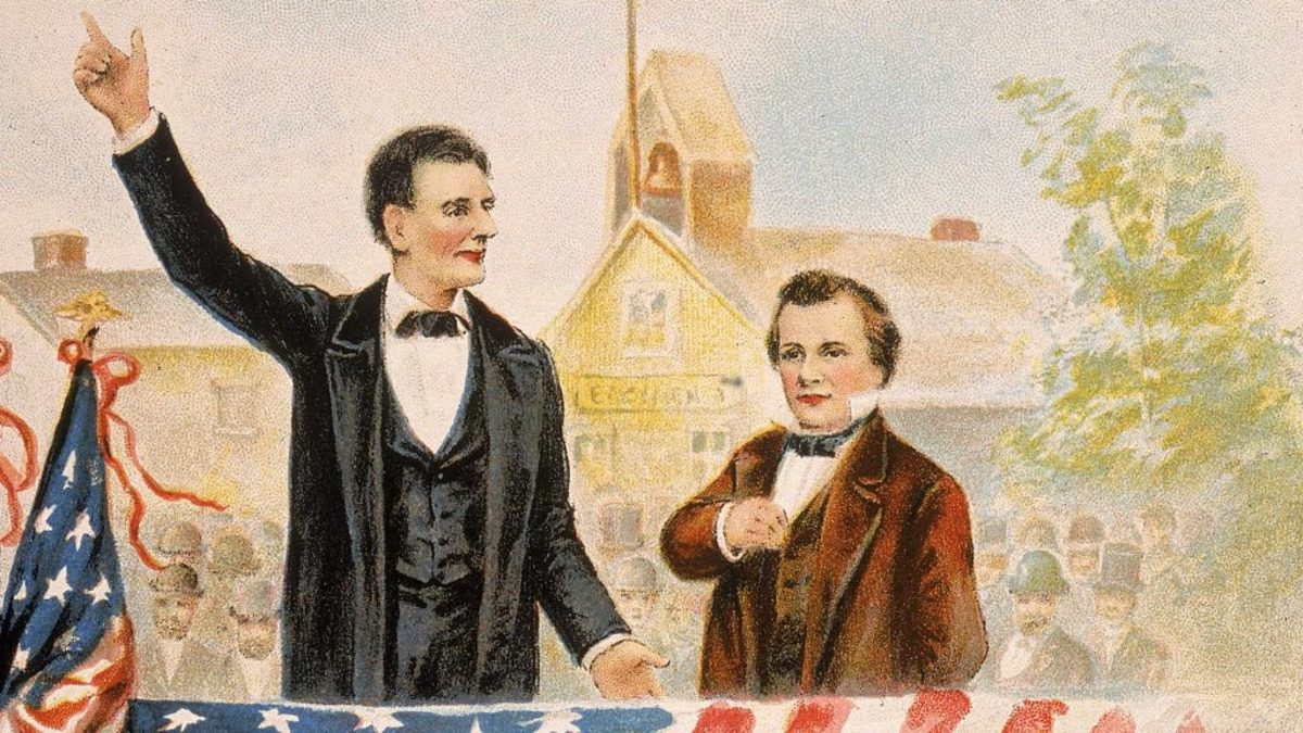 Presidential candidate Abraham Lincoln debating his opponent Steven Douglas in front of a crowd, circa 1858. (Credit: Kean Collection/Getty Images)