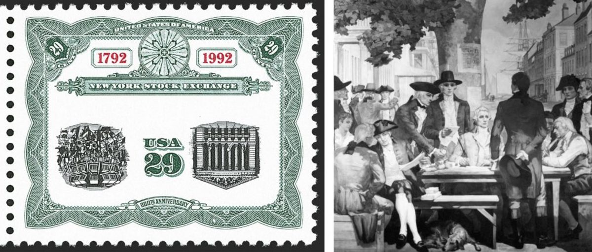 New York Stock Exchange stamp (courtesy of Siegel Auction Gallery); The New York Stock Exchange meeting under Buttonwood Tree on Wall Street. (Credit: Bettmann Archive/Getty Images)