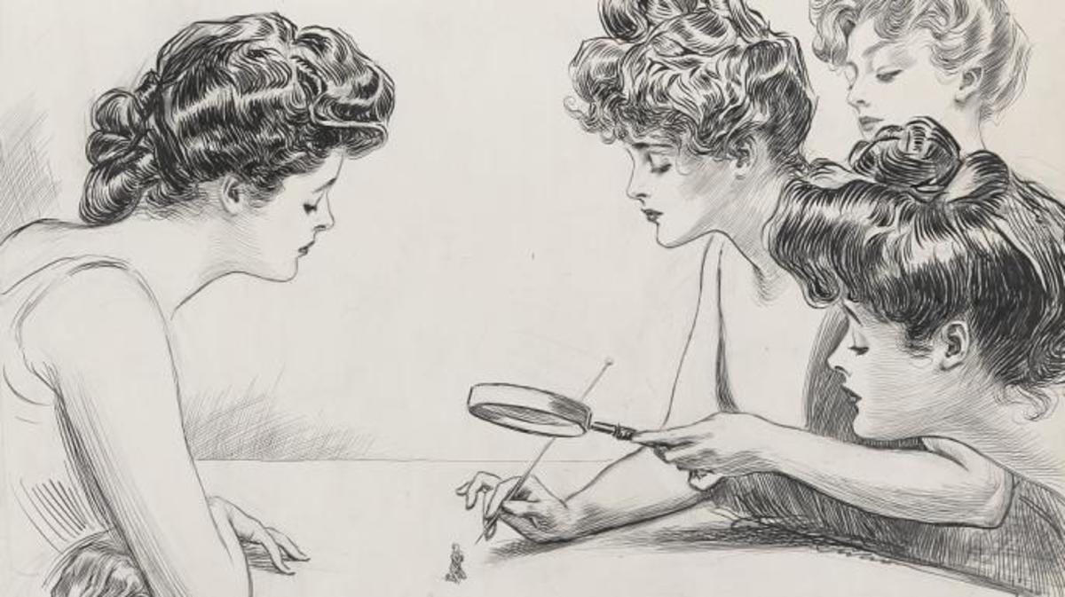 Drawing of women observing a diminutive man through a magnifying glass, about to poke the man with a hat pin, 1903. (Credit: The Library of Congress)