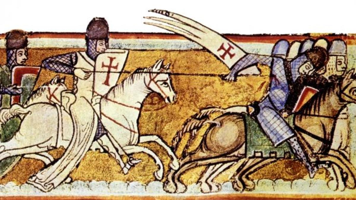 Illustration depicting the Knights Templar in battle, based on a fresco in the Chapel of the Templars in Cressac sur Charente, France.