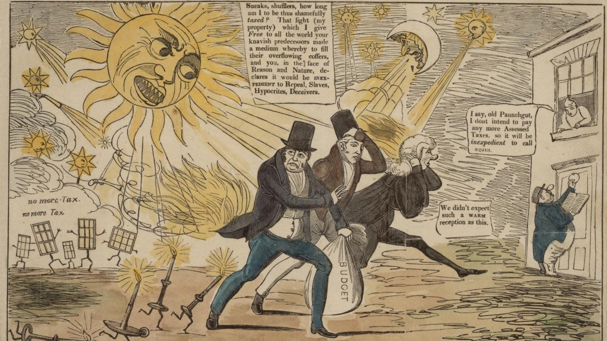A satirical cartoon titled 'The Revolution of the Planets Against the Tax Upon Light' in response to the window tax introduced in 1696. The main caption has the sun saying 'Sneaks, shufflers, how long am I to be thus shamefully taxed? That light (my property) which I give Free to all the world your knavish predecessors made a medium whereby to fill their overflowing coffers, and you, in the face of Reason and Nature, declares it would be be inexpedient to Repeal, Slaves, Hypocrites, Deceievers'. (Credit: Hulton Archive/Getty Images)