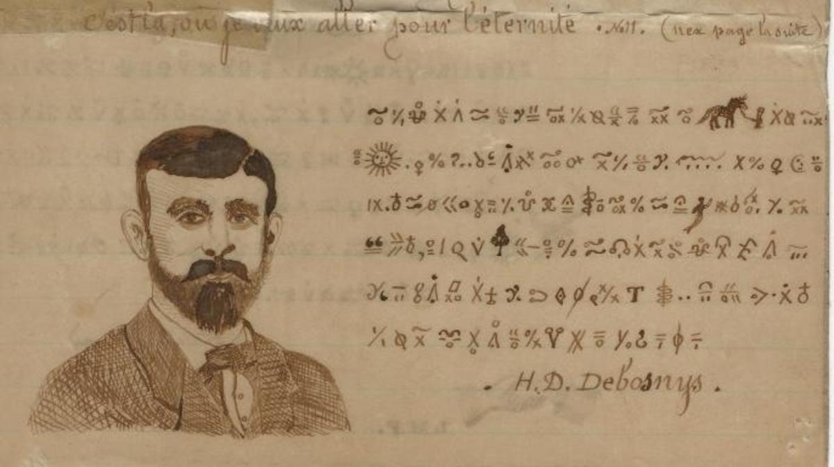 This cryptogram by Henry Debosnys from the late 1880s includes his self portrait. (From the Collection of the Adirondack History Museum)