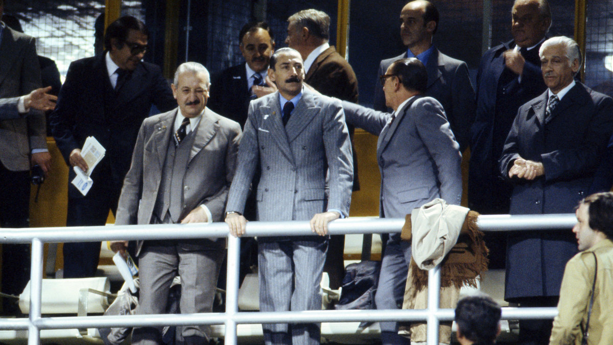 Argentine dictator Jorge Rafael Videla during the World Cup match between Argentina and Peru, 1978. (Credit: Michel Piquemal/Onze/Icon Sport/Getty Images)