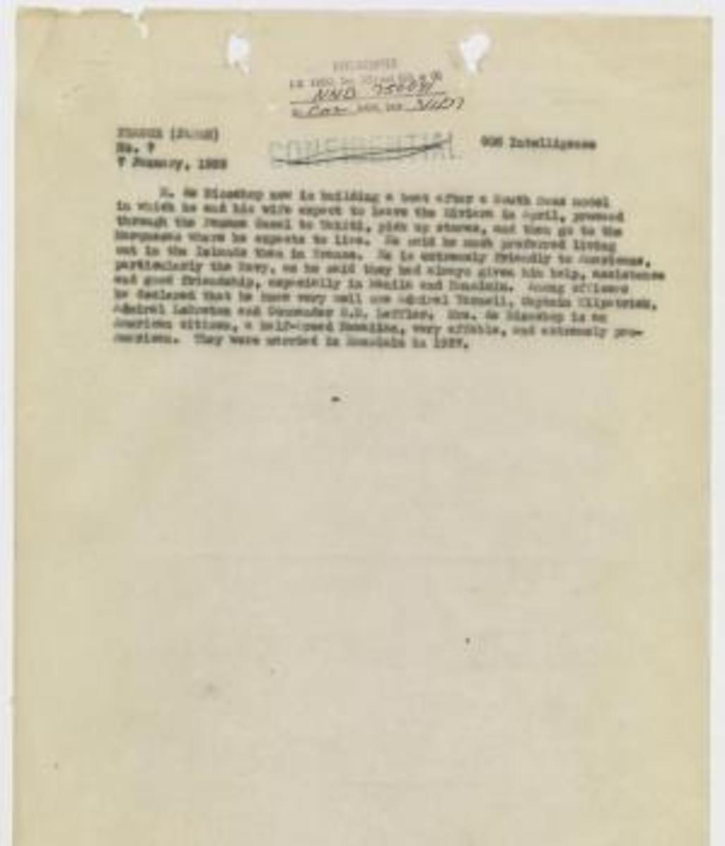 Page 3 of report, dated January 7, 1939, from the records of the Office of the Chief of Naval Operations. This document provides information that Earhart was a prisoner in the Marshall Islands. (Credit: National Archives)