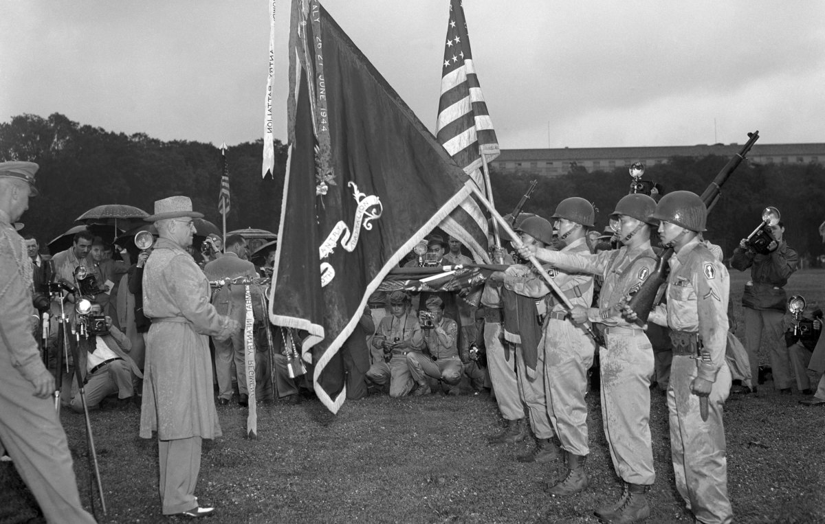 President Harry Truman inspects the famed 442nd Regimental Combat Team on July 15, 1946. (Credit: Bettmann Archive/Getty Images)