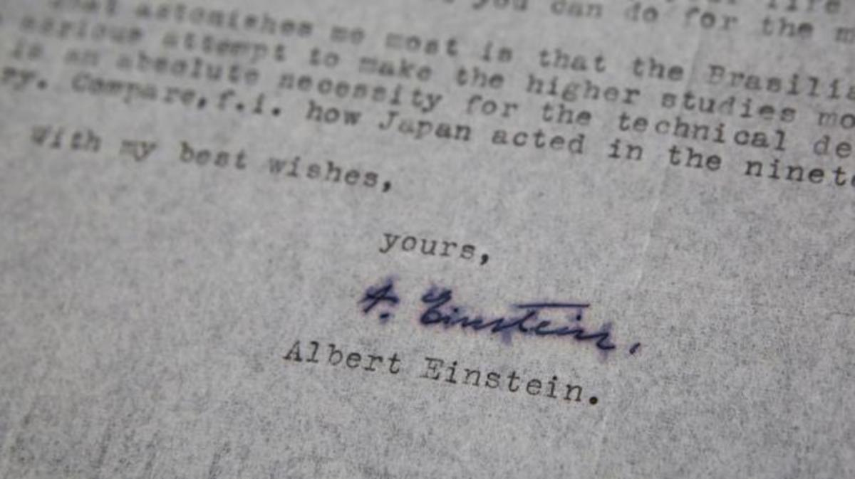 A letter from Nobel Prize-winning physicist Albert Einstein is seen at a Jerusalem auction house on June 20, 2017. (Credit: Gil Cohen-Magen/AFP/Getty Images)