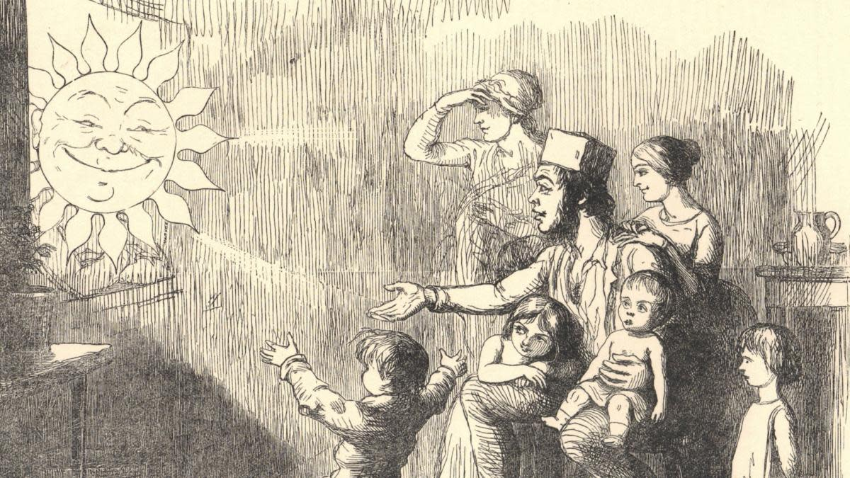 A family looking forward to seeing more of the Sun when the Window Tax would be repealed. Cartoon by Richard Doyle, 1754. (Credit: Universal History Archive/Getty Images)