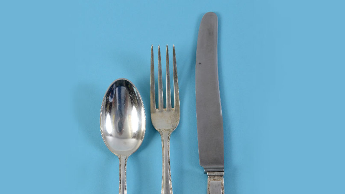 The two knives, three spoons and three forks were bought by one online buyer who remained anonymous. (Photograph courtesy Charterhouse Auctioneers)