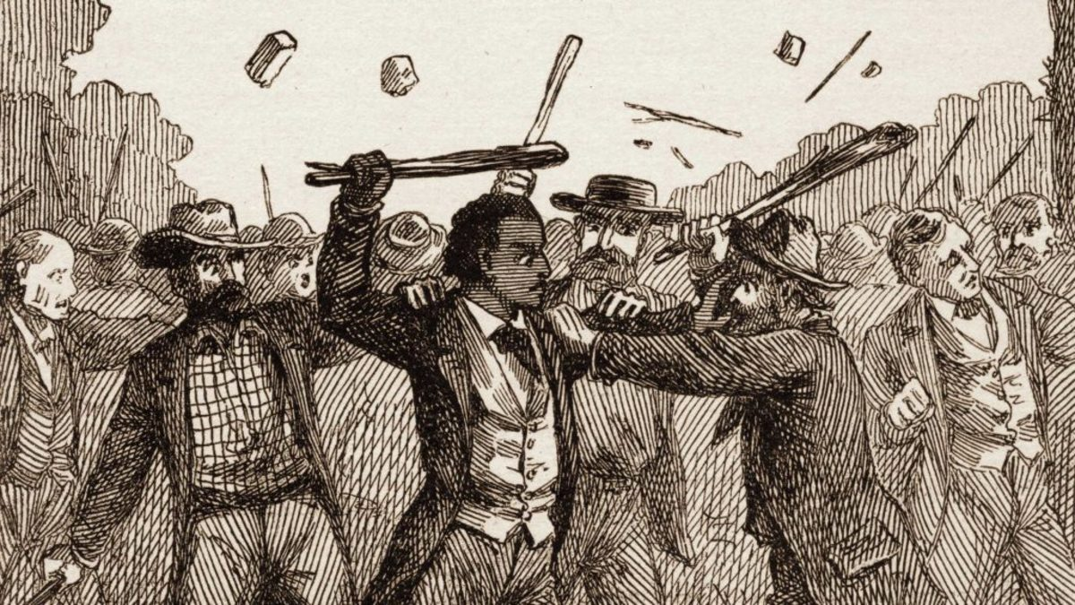 Author Frederick Douglass being attacked by an anti-abolitionist mob at a convention in Pendleton, Indiana 1843. (Credit: Stock Montage/Getty Images)