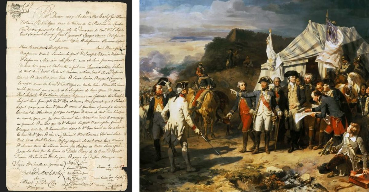 (Courtesy of Siegel Auction Gallery); The Battle of Yorktown (Credit: Fine Art Images/Heritage Images/Getty Images)