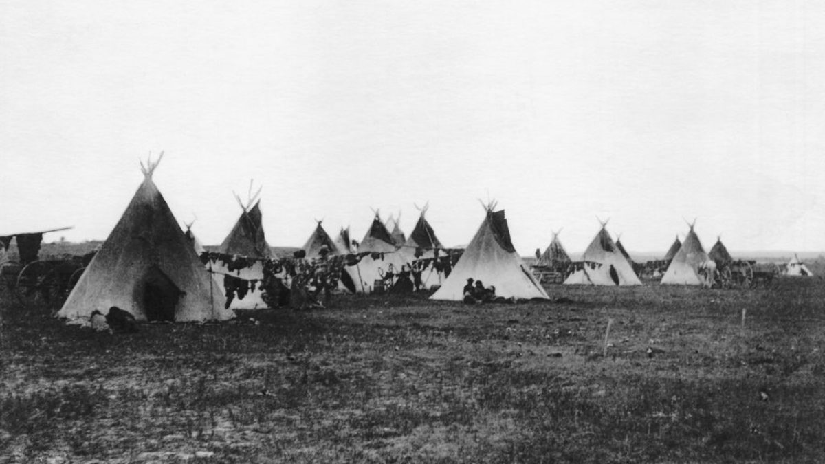 The camp of Sitting Bull on the Standing Rock Reservation. (Credit: Bettmann Archive/Getty Images)