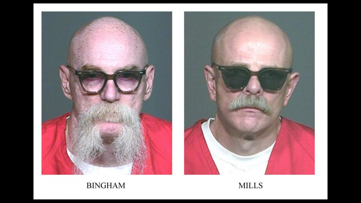 Aryan Brotherhood gang leaders Tyler Davis Bingham and Barry 'The Baron' Mills led a plot to incite a race war inside prisons across the U.S. Some of their messages to fellow gang members were encoded with a cipher system used 400 years ago by British philosopher Sir Francis Bacon. (Credit: Orange County Register/AP Photo)